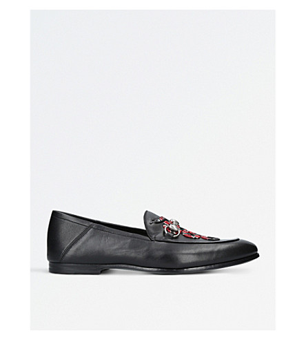 GUCCI Kingsnake leather loafers (Black