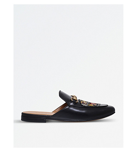 GUCCI Princetown embroidered leather slippers (Black
