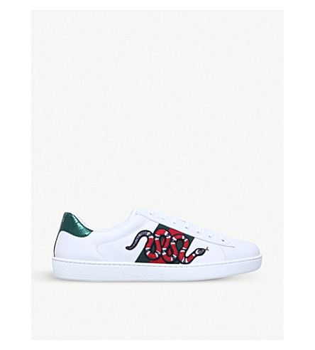 GUCCI New Ace embroidered-snake leather trainers (White