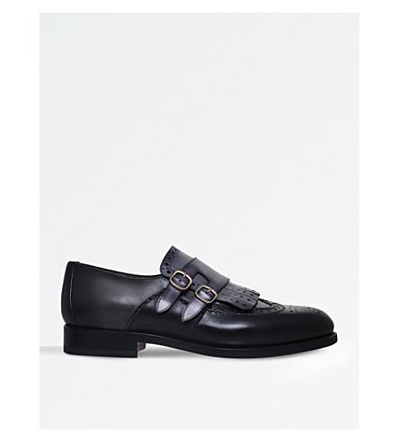 SANTONI Colin fringe leather monk shoes (Grey