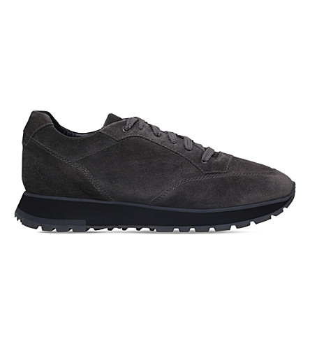 SANTONI Vancouver suede running trainers (Grey