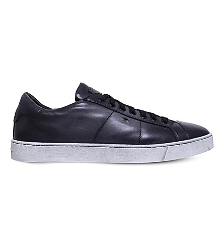 SANTONI Gloria low-rise leather trainers (Grey/dark