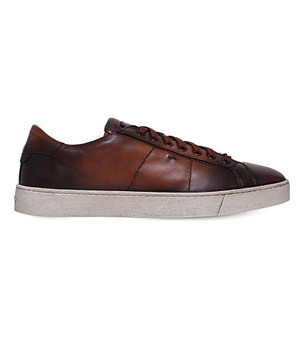 SANTONI Gloria low-rise leather trainers (Brown
