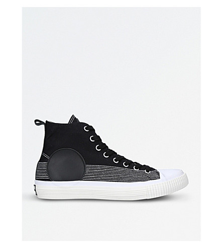 MCQ ALEXANDER MCQUEEN Circle stitched canvas and leather high-top trainers (White/blk