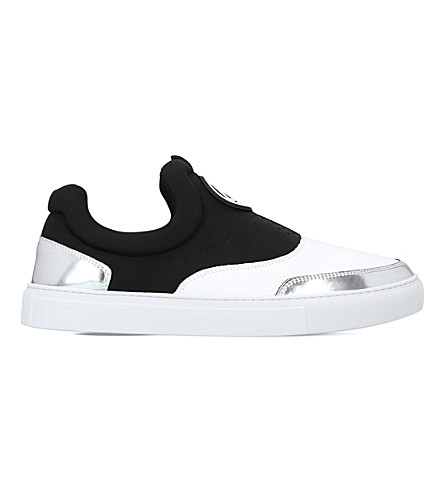 MCQ ALEXANDER MCQUEEN Youko neoprene and metallic-leather skate shoes (White/comb