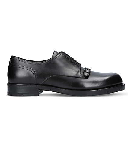 BOTTEGA VENETA Show strap-detail leather Derby shoes (Black