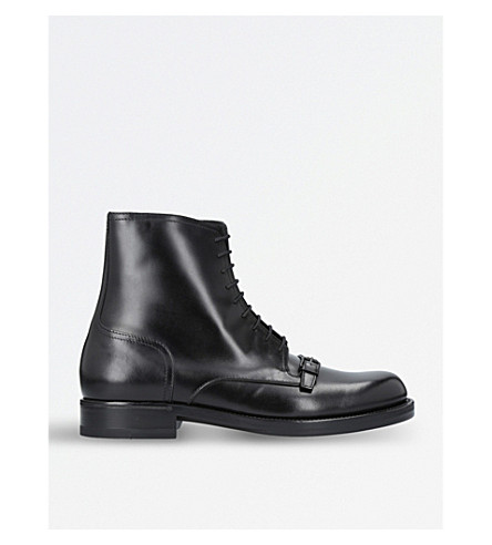 BOTTEGA VENETA Show strap-detail leather boots (Black