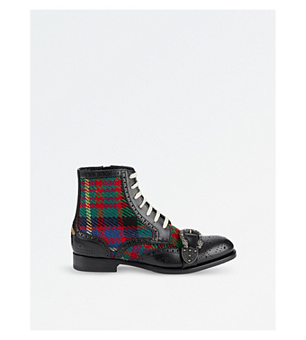 GUCCI Queercore tartan-detail leather boots (Blk/other