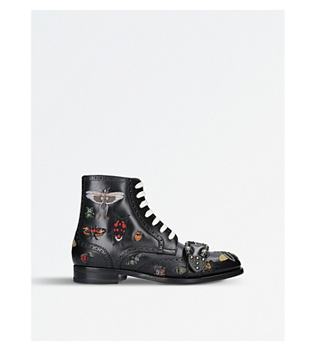 GUCCI Queercore embroidered leather boots (Blk/other