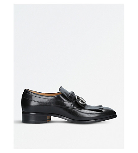 GUCCI GG fringed leather loafers (Black
