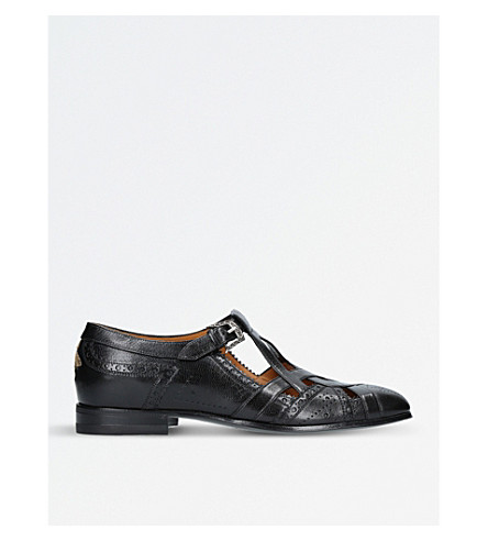 GUCCI Thesis bee-embroidered leather shoes (Black