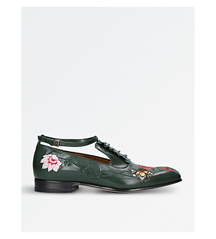 GUCCI Thesis flower-embroidered leather shoes (Green+comb