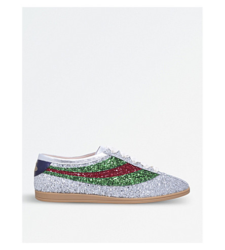 GUCCI Falacer metallic glittered leather low-top trainers (Silver