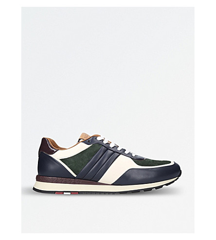 BALLY Ascar suede and smooth leather trainers (Navy