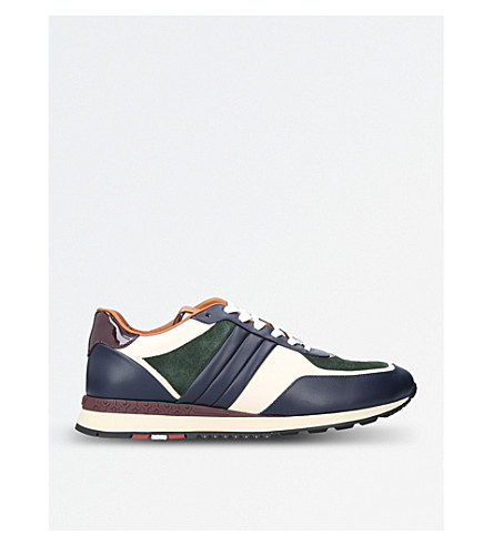 BALLY Ascar suede and leather trainers (Blue/pal.c