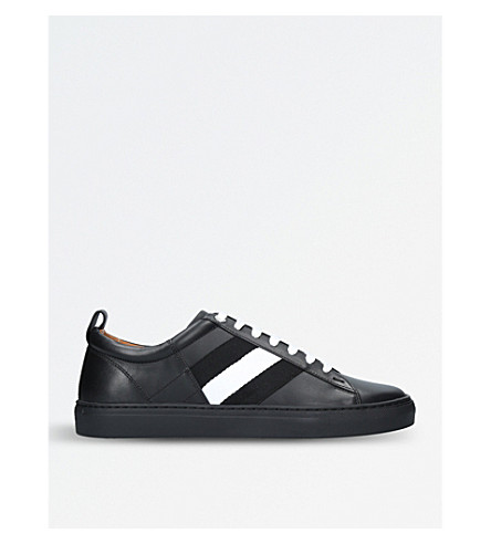 BALLY Helvio leather and webbing trainers (Black