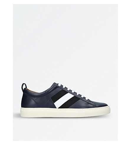 BALLY Helvio leather and webbing trainers (Navy