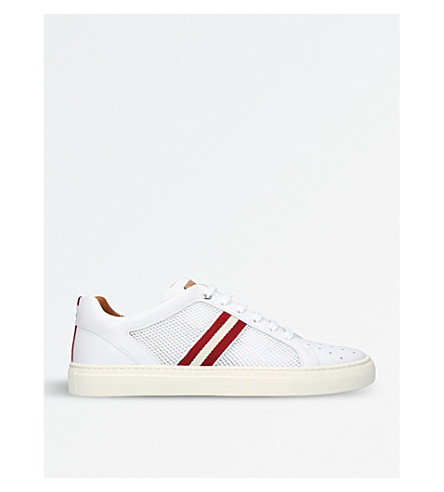 BALLY Herk leather and mesh trainers (White