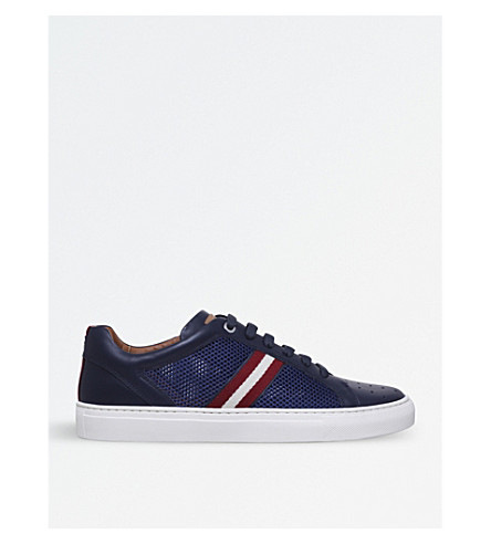 BALLY Herk-U stripe-detail leather trainers (Navy
