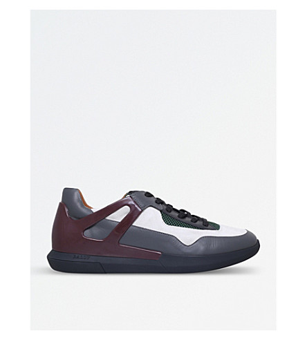 BALLY Avion leather and mesh trainers (Grey/dark