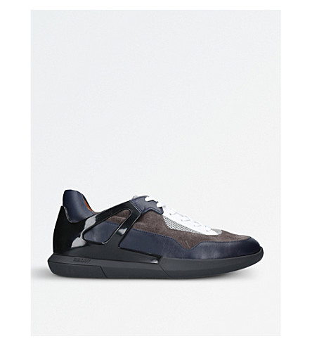 BALLY Avion leather and mesh trainers (Navy