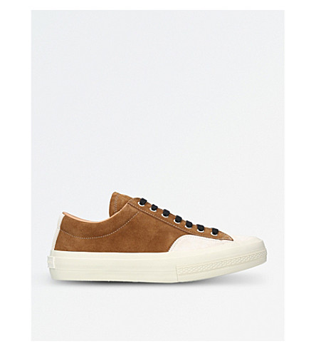 DRIES VAN NOTEN Suede and leather trainers (Tan