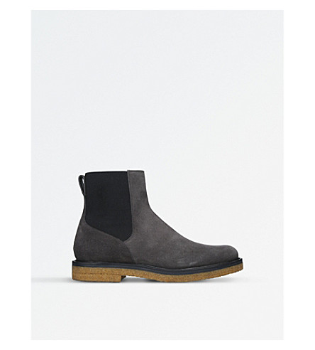 DRIES VAN NOTEN Crepe-sole suede Chelseas boots (Grey