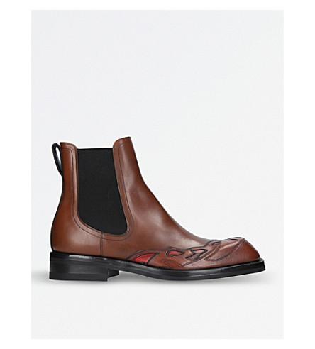 DRIES VAN NOTEN Contrast-side leather Chelsea boots (Tan