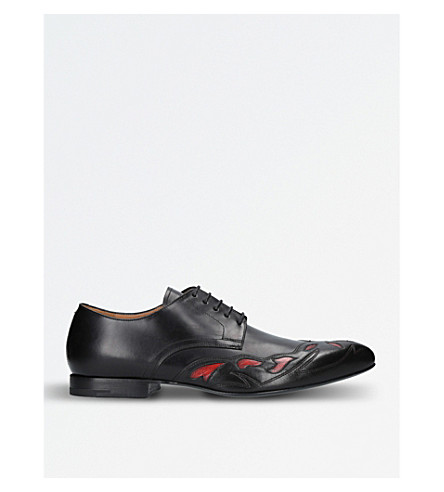 DRIES VAN NOTEN Contrast-side leather Oxford shoes (Black