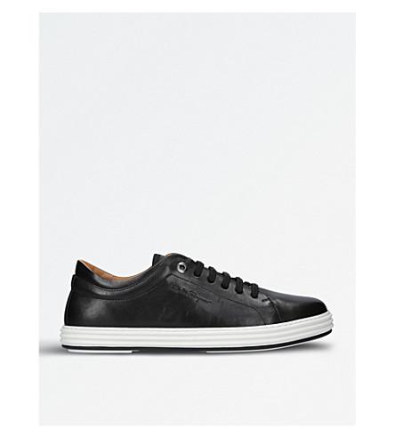 SALVATORE FERRAGAMO Newport leather trainers (Black