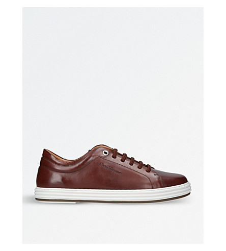 SALVATORE FERRAGAMO Newport leather trainers (Brown