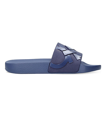 SALVATORE FERRAGAMO Gancho rubber sliders (Blue