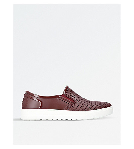 SALVATORE FERRAGAMO Fly rubber slip-on trainers (Wine