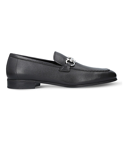 SALVATORE FERRAGAMO Flori pebbled-leather loafers (Black