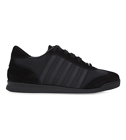 DSQUARED2 5 stripe suede and mesh trainers (Black