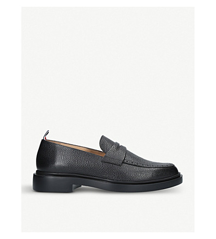 THOM BROWNE Punch leather penny loafers (Black