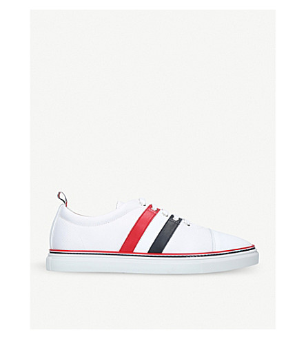 THOM BROWNE Striped pebble-grain leather trainers (White