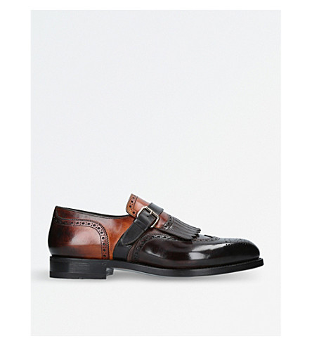 SANTONI Kenneth single-buckle fringe leather monk shoes (Black