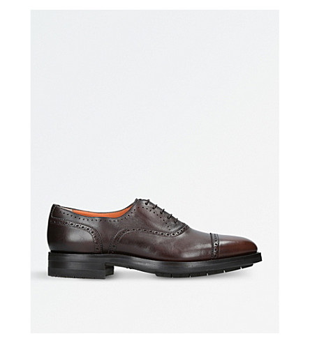 SANTONI Kenneth leather oxford shoes (Dark+brown