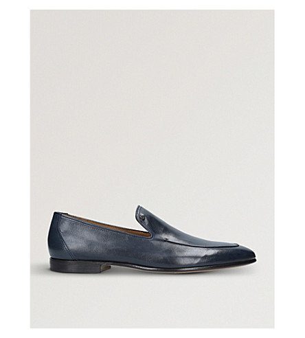 STEMAR Contrast-trim leather loafers (Navy
