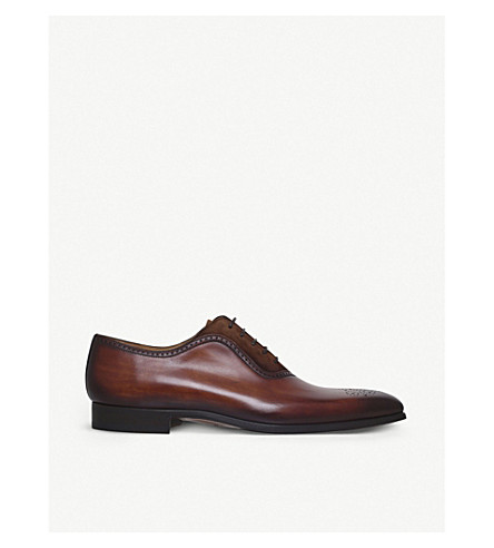 MAGNANNI Perforated leather and suede Oxford shoes (Brown