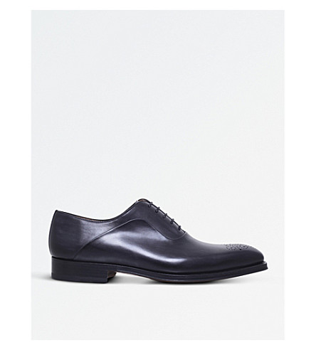 MAGNANNI Perforated leather Oxford brogues (Grey