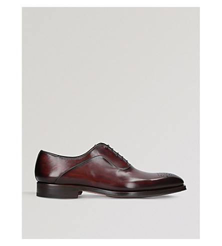 MAGNANNI Perforated leather Oxford brogues (Mid+brown