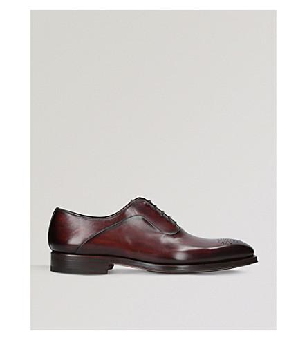 MAGNANNI 穿孔皮革牛津布洛克鞋 (中 + 褐色