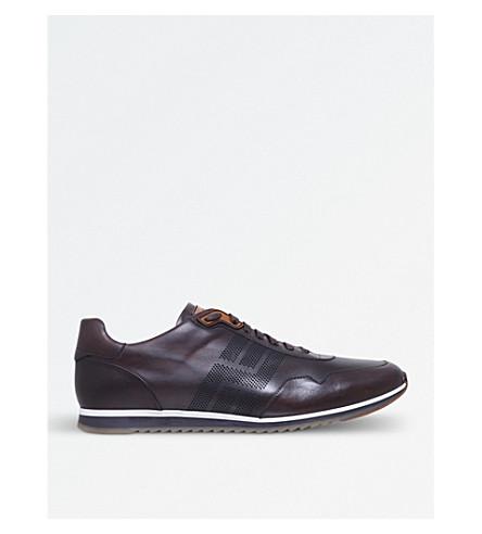 MAGNANNI 穿孔皮革运动鞋 (棕色