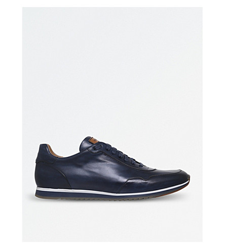 MAGNANNI Striped-detail leather trainers (Blue