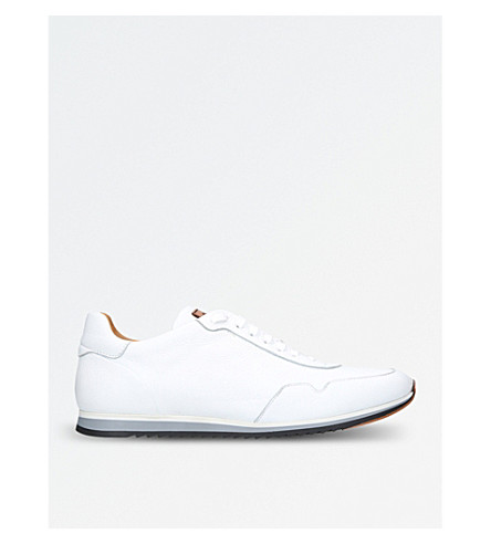 MAGNANNI Striped-detail leather trainers (White