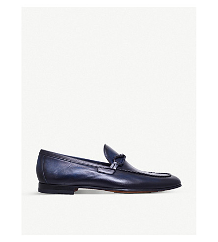 MAGNANNI Braid-trim leather loafers (Blue