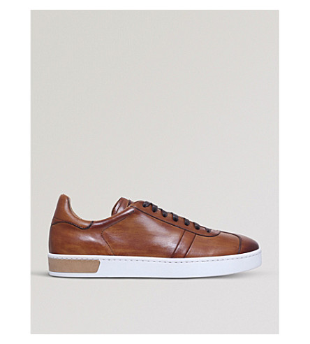 MAGNANNI Stitch-detail leather trainers (Tan