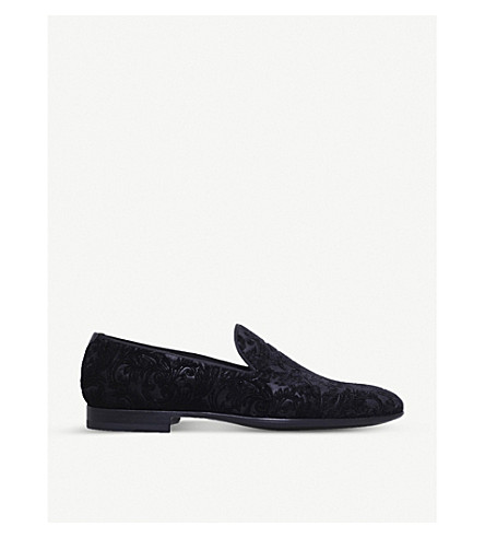 MAGNANNI Baroque velvet slippers (Black